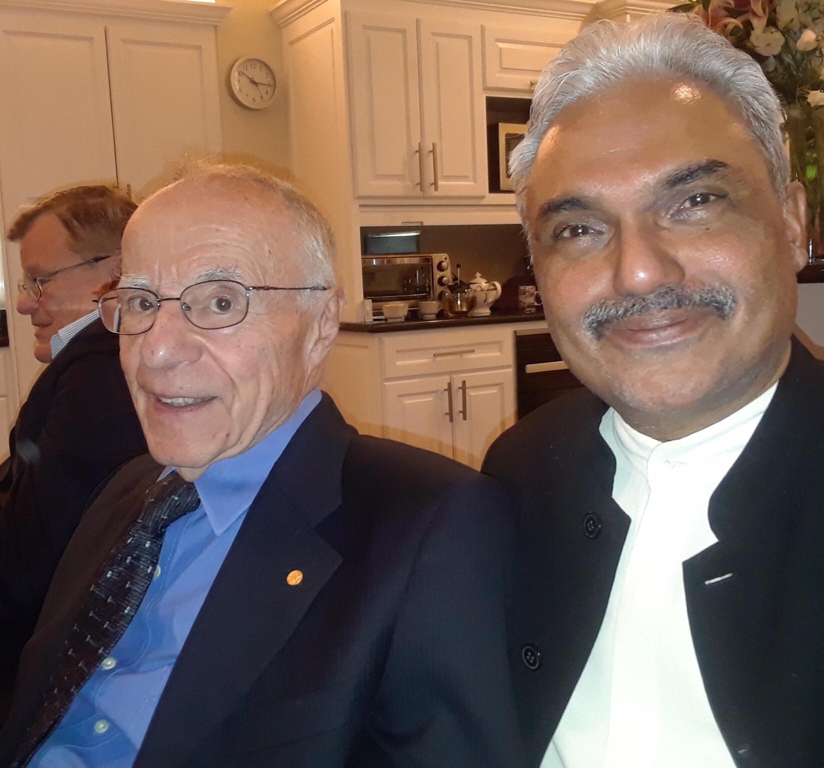 Photo: George Pinto with Nobel Prize winner Prof. Arno Penzias (Physics, 1978)